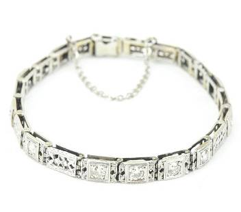 Antique 14kt White Gold & Diamond Panel Bracelet