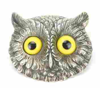 Antique Unger Bros Sterling Silver Owl Brooch