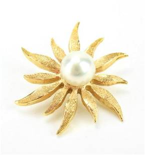 Estate 14kt Yellow Gold & Pearl Necklace Pendant