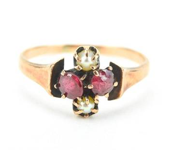 Estate Antique 10kt Gold Ruby & Pearl Ring