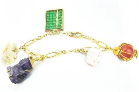 Asian 14K Yellow Gold & Hardstone Charm Bracelet