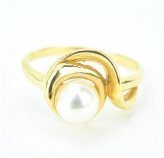 14K Yellow Gold Akoya Cultured Pearl Ring
