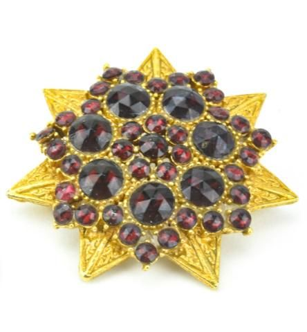 Vintage Costume Jewelry Gilt & Garnet Star Brooch