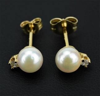 14K Gold Akoya Pearl & Diamond Stud Earrings