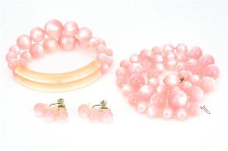 Vintage Pink Bakelite Costume Jewelry Set