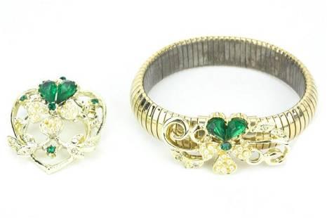 Emerald & Seed Pearl Costume Demi Parure