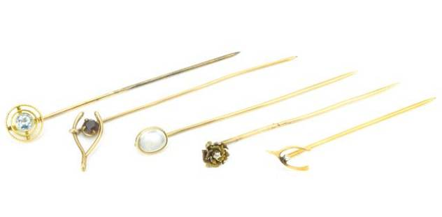 Collection 5 14K Gold Moonstone & Pearl Stick Pins