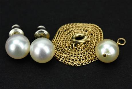 14K Gold Akoya Pearl Necklace & Studs