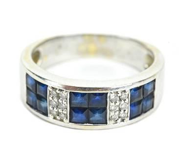 18K White Gold Sapphire & Diamond Ring w Box