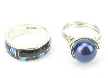 2 Sterling Rings w Cultured Pearl, Opal, & Onyx