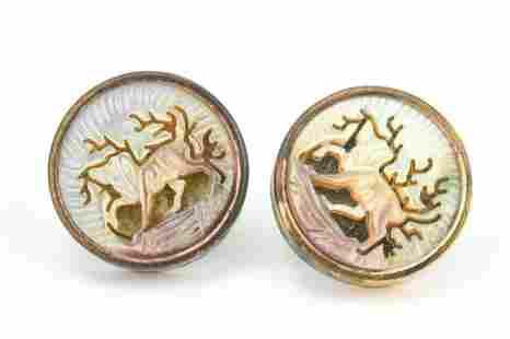 Antique Copper Carved MOP Earrings w Dog Motif