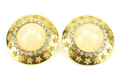 Chanel Gold Moonstone & Star Clip On Earrings