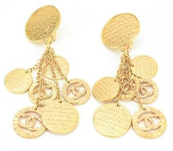 Vintage Chanel Rose Gold Logo Multi Drop Earrings