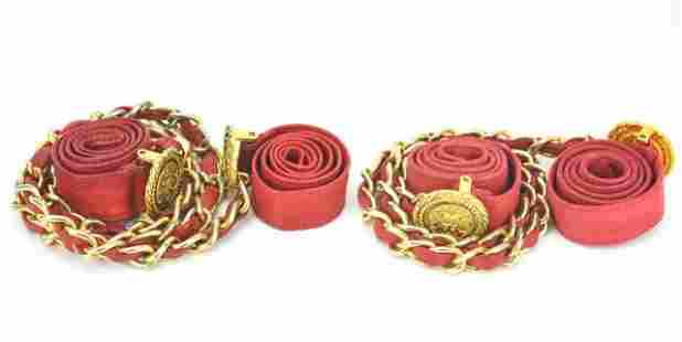 2 Chanel Red Leather & Gold Chain Belts