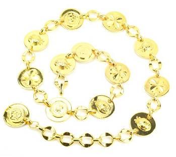 Vintage 1970s Chanel Gold Disc Chain Belt
