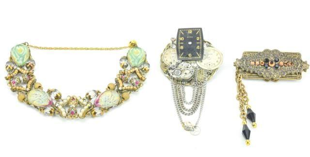 Vintage Costume Jewelry Panel Bracelet & Pins