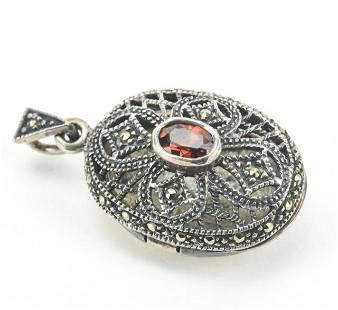 Sterling Silver Filigree Garnet Marcasite Locket