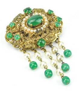 Antique Gold Filigree Brooch Emerald Paste Pearls