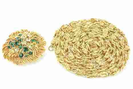 Vintage Lisner Necklace & Brooch w Emerald Paste
