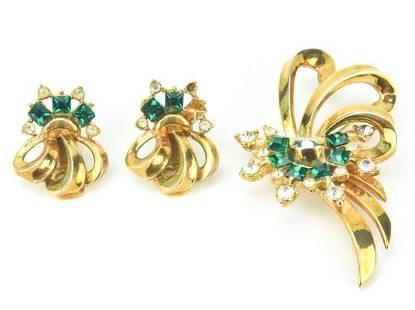 Vintage Gold & Emerald Paste Costume Demi Parure
