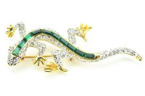 Faux Emerald & Rhinestone Gecko Costume Brooch