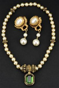 Vintage Costume Faux Pearl Earrings & Necklace