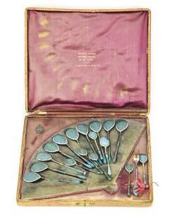 Set Antique Gustav Klingert Silver & Enamel Spoons