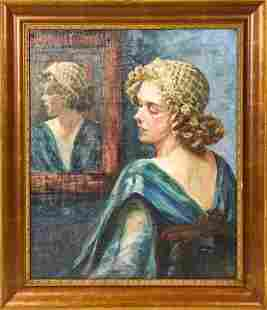 Signed Mid C Oil Portrait Painting Young Woman