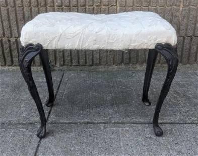 Iron Legged White Upholstered Vanity Stool