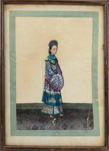 Antique Chinese Ancestor Portrait Painting on Silk