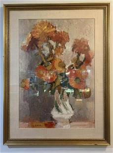 Floral Offset Lithograph in Gilt Wood Frame