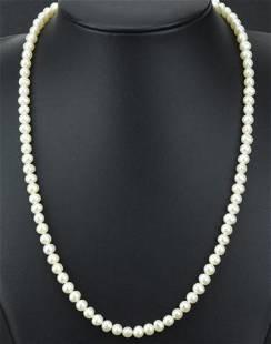 Estate 10kt Gold & Cultured Pearl Necklace Strand