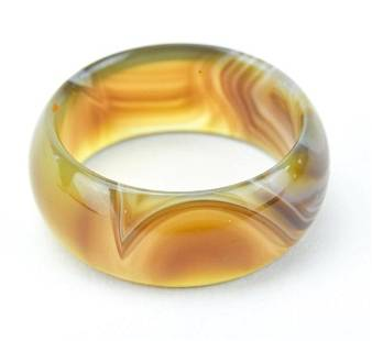 Carved Banded Agate Band / Ring