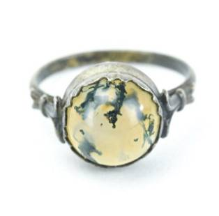 Silver & Dendritic Agate Ring