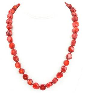 Hand Knotted Coral Bead Necklace Strand