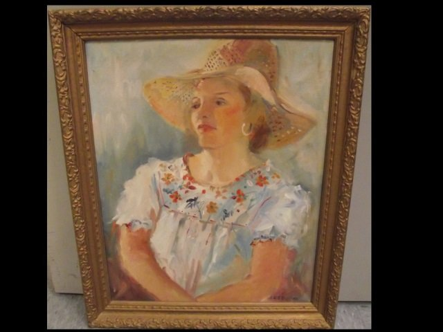 Portrait of Woman Wearing Hat- Oil on Canvas