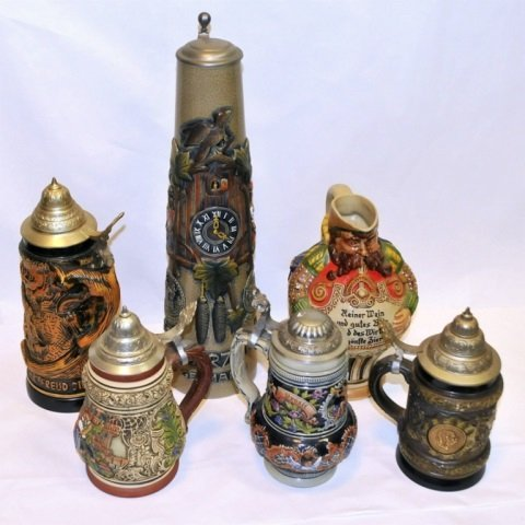 Set of 6 Vintage Beer Steins