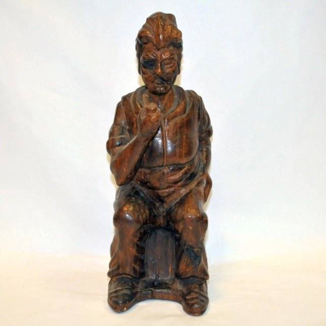 Vintage Hand-Carved Wooden Mark Twain Sculpture