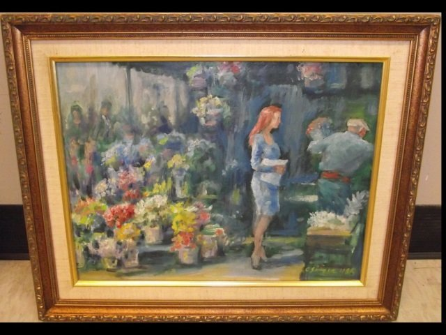 """Clyde Singer- Flowers and Customer""""- Oil/Board"""""""