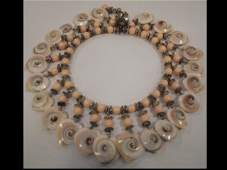 Miriam Haskell Faux Coral and Shell Necklace