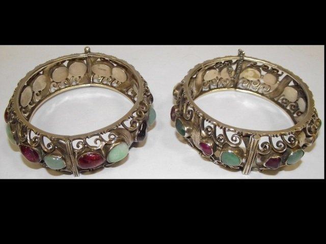 2 Silver Bracelets w/Tourmalines, Jade, Garnets