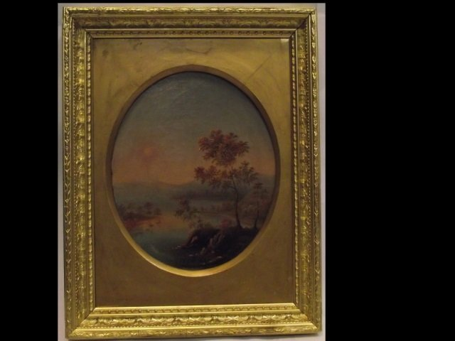 J. F. Cropsey- Waterscape with Trees- Oval O/C