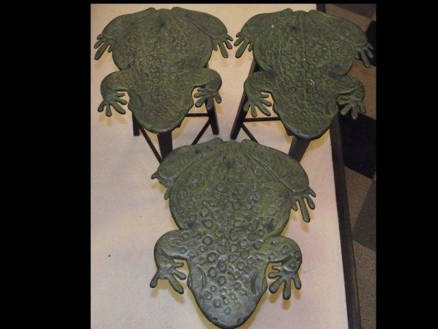 Set of Three Midcentury Drink Tables w/Frog Motif