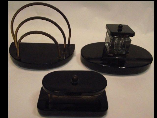 Art Deco Marble & Brass Desk Set