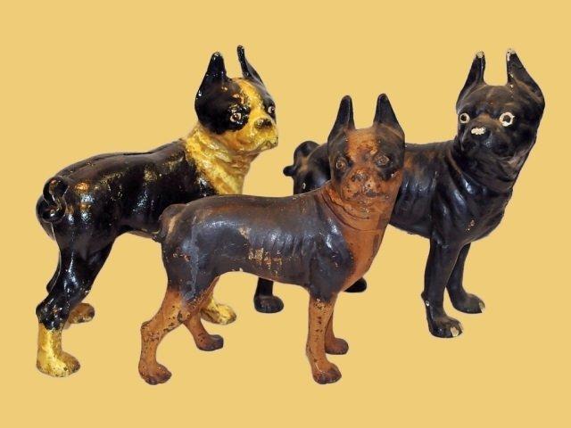 3 Antique Cast Iron Dog Doorstops/Bookends(1 Bank)