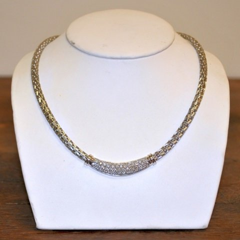 18K Italian White Gold Necklace w/2 Cts Diamonds