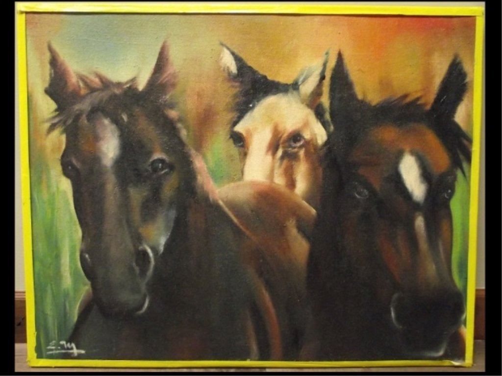Signed Portrait of Three Horses- Acrylic on Canvas