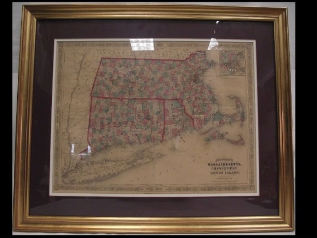 Framed 19th Century Handcolored Map of New England