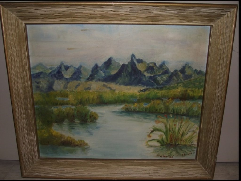 R. Abrams- Marsh with Mountains- Oil on Canvas