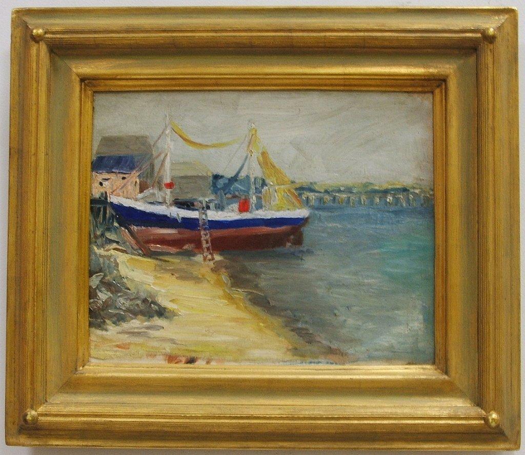 Shore Scene w/Sailboat- Walter Farndon- Oil/Canvas